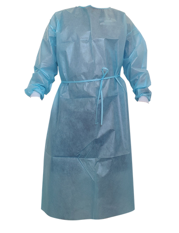 Non Woven Blue Isolation Gown with PE Coating AAMI Level 2 PP+PE 50 GSM