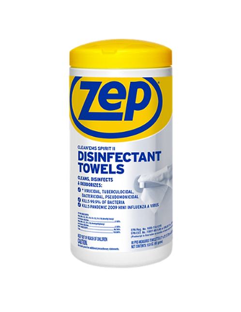 ZEP Clean'Ems Spirt II Disinfectant Towels 80 wipes per can, 6 cans per case