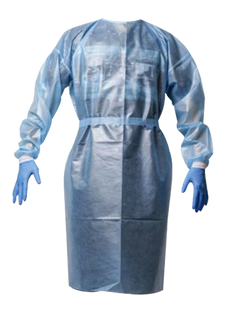 Premium Non Woven Blue Isolation Gown with PE Coating AAMI Level 3 PP+PE 50 GSM