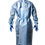 Thumbnail: Premium Non Woven Blue Isolation Gown with PE Coating AAMI Level 3 PP+PE 50 GSM