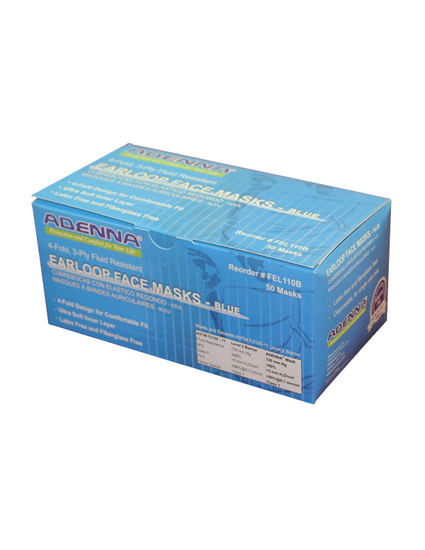 Adenna® Earloop 3 Ply 4 Fold Design Blue Face Masks 50 pieces per box