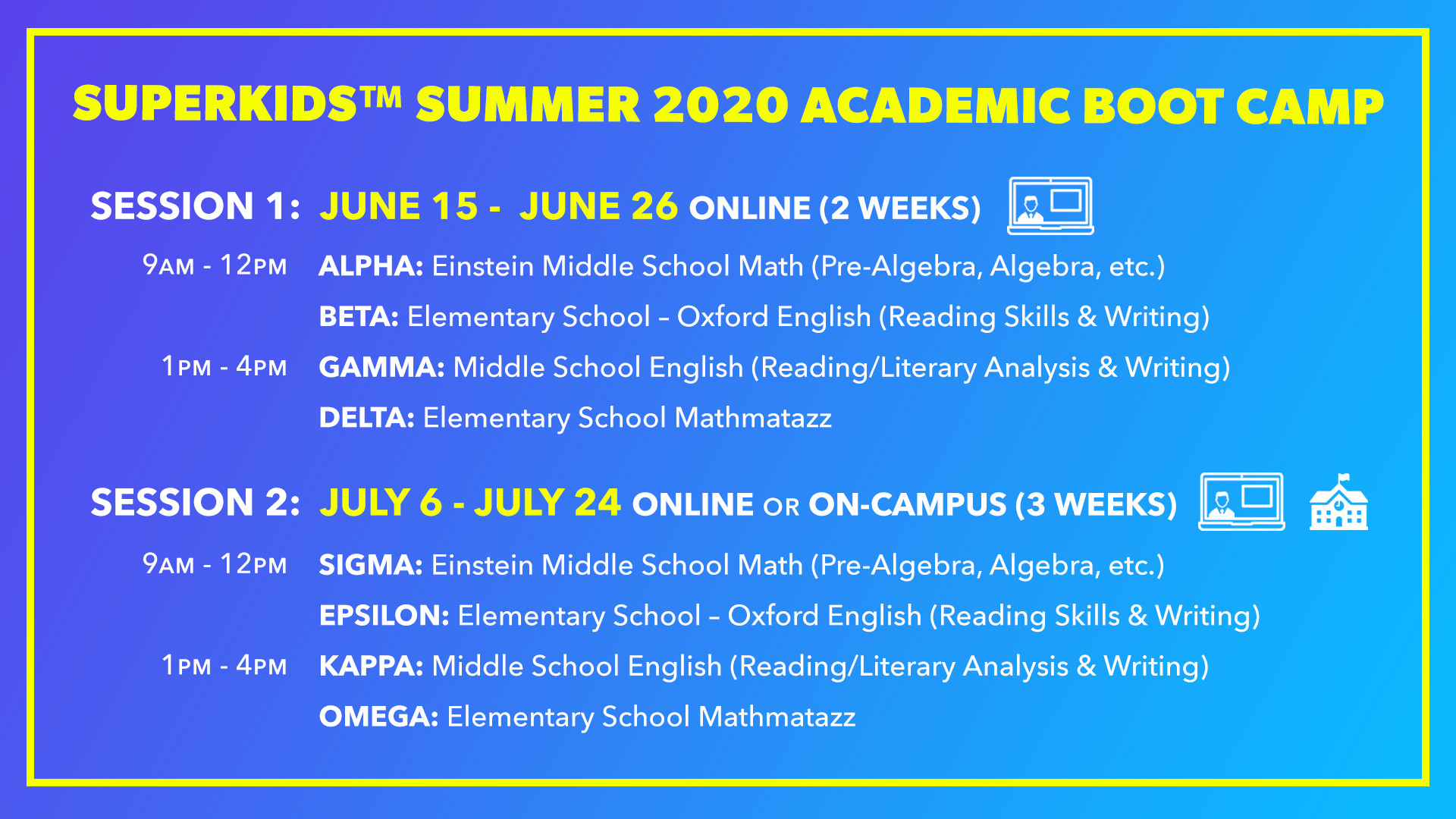 Summer 2020 Academic Boot Camp