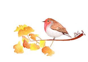 Bird watercolor card
