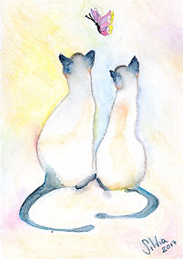 Two cats watercolor card
