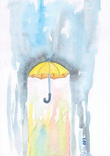 Umbrella watercolor card