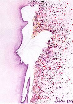 Dancer watercolor card