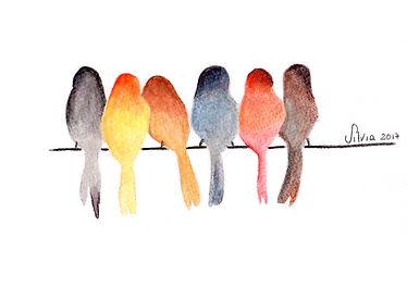Birds watercolor card