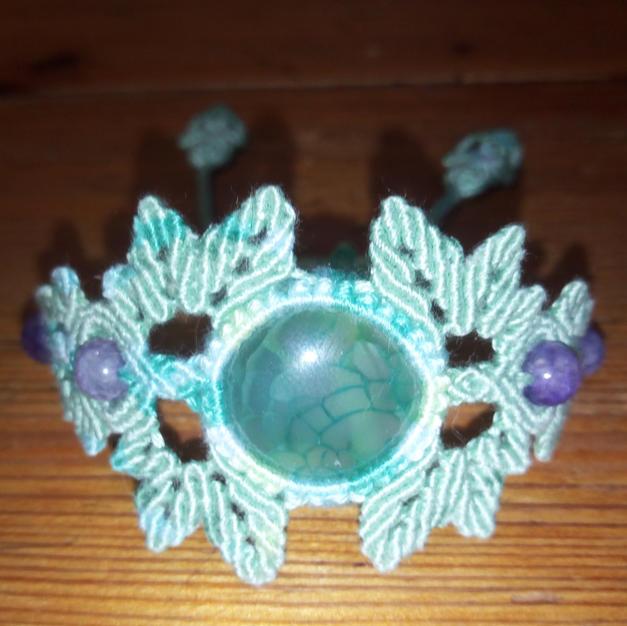 Bracelet d'Agate teintée thème végétal