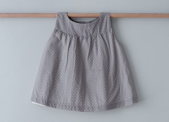 SUNDAY TUNIC TOP - GRAY WITH WHITE DOTS
