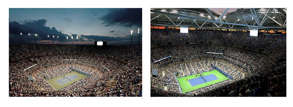 Arthur Ashe Stadium with Metal Halide Lights (left) vs LED Lights (right)