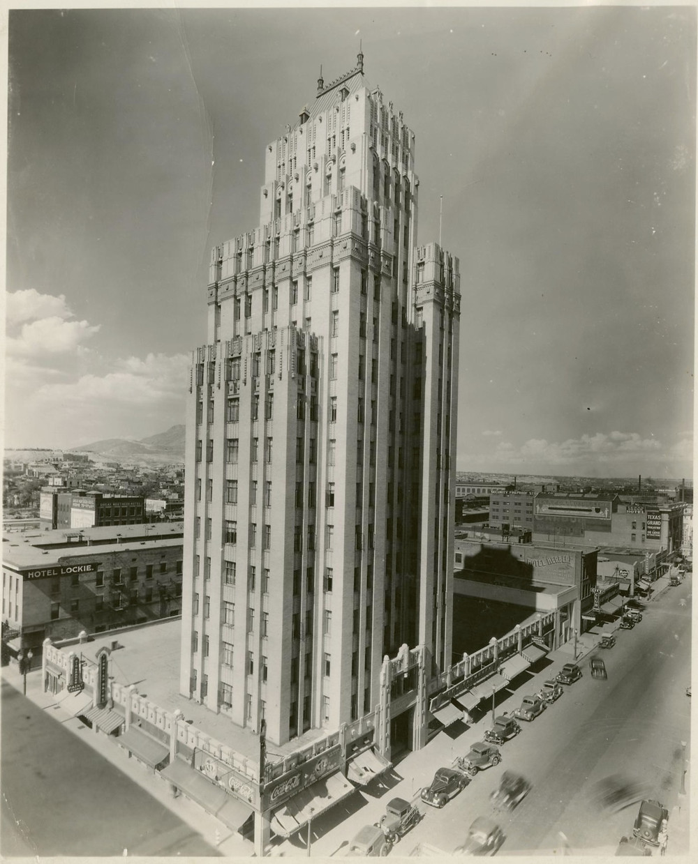 One of the oldest photos of O. T. Bassett Tower in El Paso, Texas. Circa 1930's Source: The Portal of Texas History