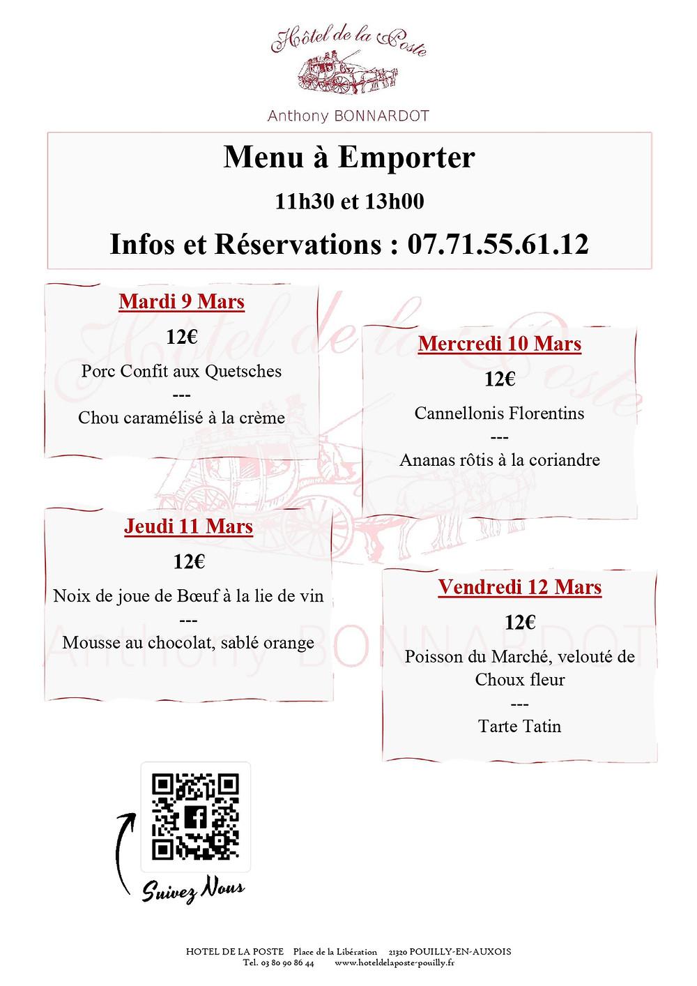 Menu de la semaine du 9 Mars - Hôtel de la Poste Pouilly en Auxois