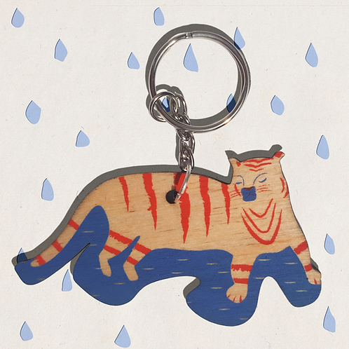 Wooden Kitty Katz Keyring