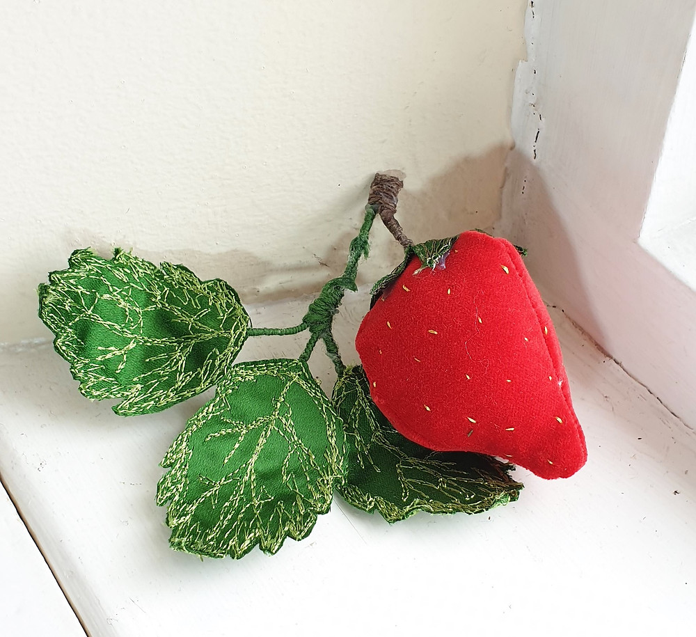 handmade velvet strawberry decoration