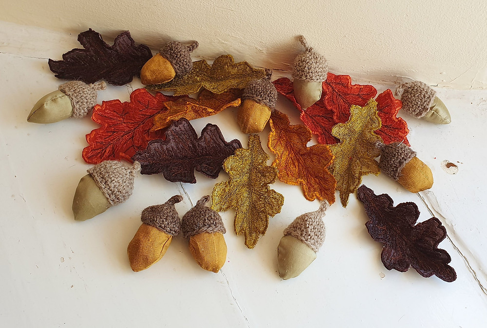 Handmade Fabric Oak Leaf and Acorn Decorations