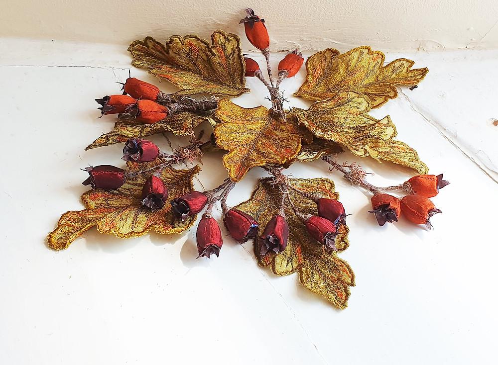 hawthorn berries, hawthorn leaves, autumn decor, woodland decor, autumn decoration,