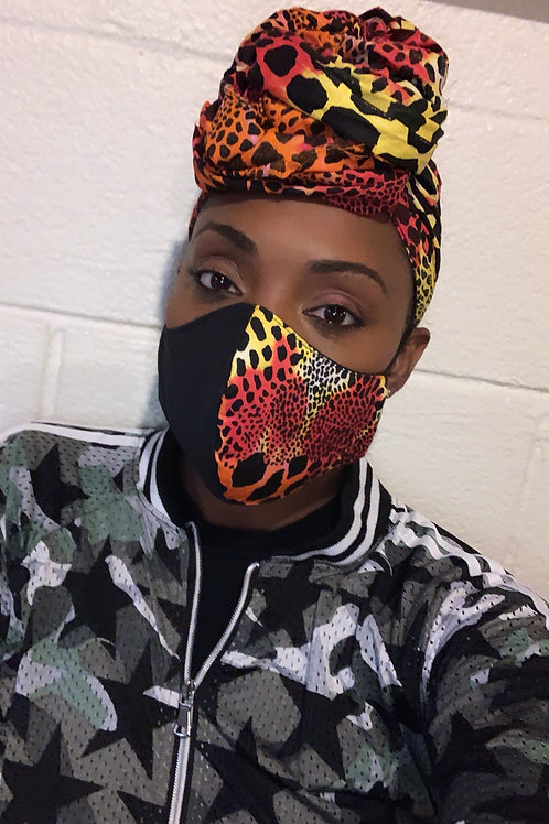 Safari Glam Set Head wrap w/Reversible Mask