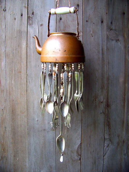 Create a one of a kind wind chime made out of repurposed teapots, kitchen  and garden favorites!!! Students will learn to put holes in metal and  glass, ...