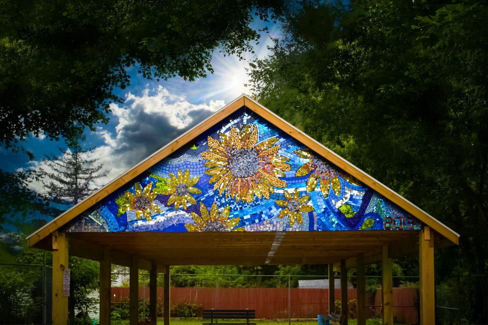 Gazebo Sunflower Mosaic Beauty Shot