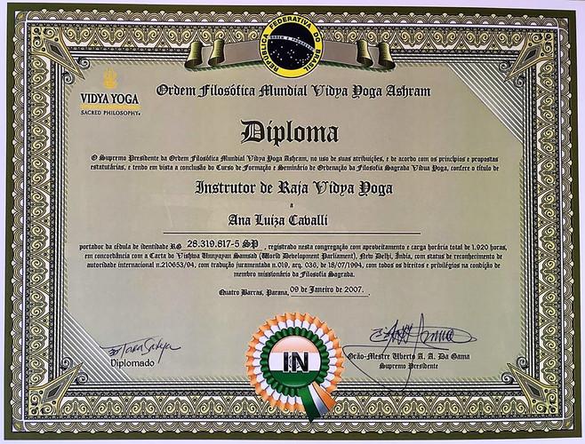 Diploma Instrutora Tara