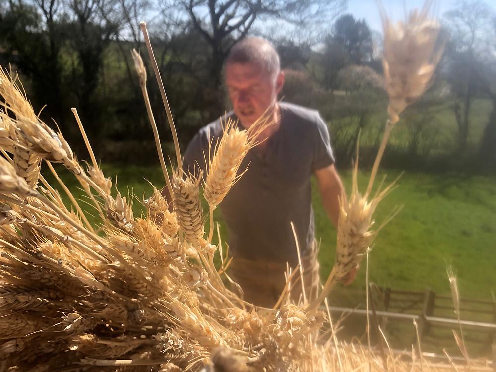 Mark Harrington master thatcher enjoying the spring weather!
