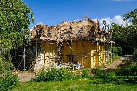 Thatched roof construction, Barnstaple, Devon
