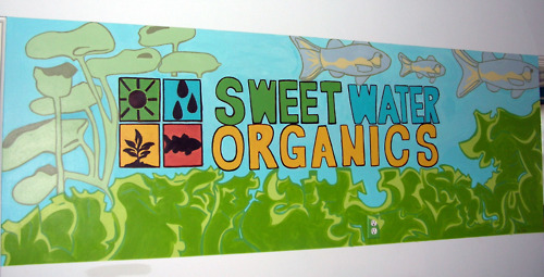 Upstairs office area mural, Sweet Water Organics