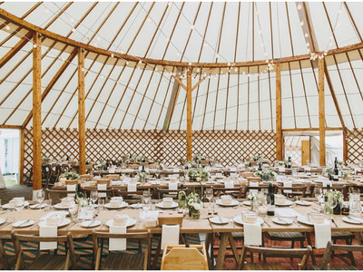 Our 60ft weddig yurt ready to be filled with celebration!