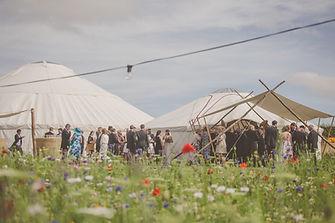 Outdoor festival style wedding yurts
