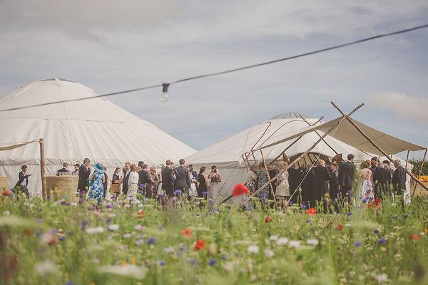 Wedding yurts set up. Photo courtesy of