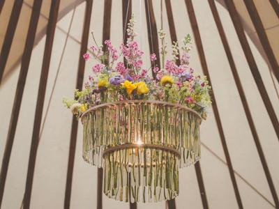 Unique yurt wedding chandelier
