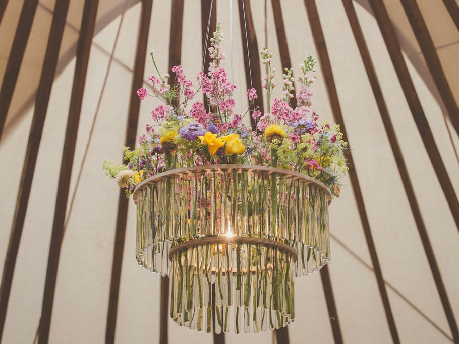 Unique yurt wedding chandelier