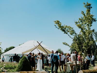 Wedding yurt and awning, on a rare sunny day!
