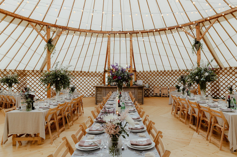 Wedding yurt all ready to go.