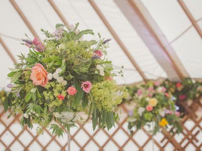 Yurt wedding flowers, Castle Wedding, Herefordshire country house