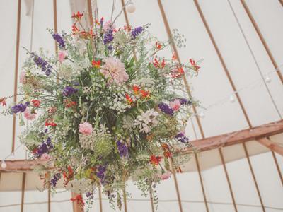 Flower ball for a yurt wedding, Castle Wedding, Herefordshire