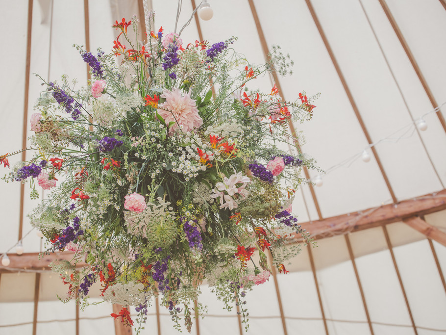 Flower ball for a yurt wedding, Castle Wedding, Herefordshire