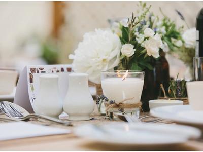 Delicate table arrangements.