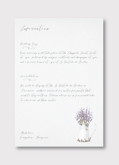 Provence Details Insert Card