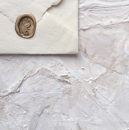 Handmade paper envelope with wax seal