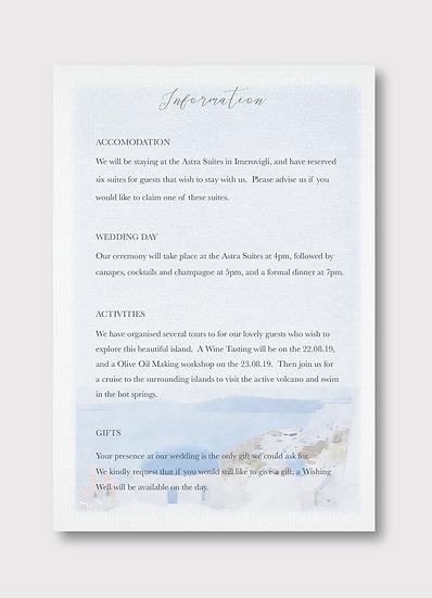 Santorini Details Insert Card