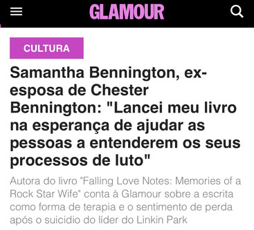 """Samantha Bennington, ex-wife of Chester Bennington: """"I released my book in hope of helping people understand their grieving processes."""""""