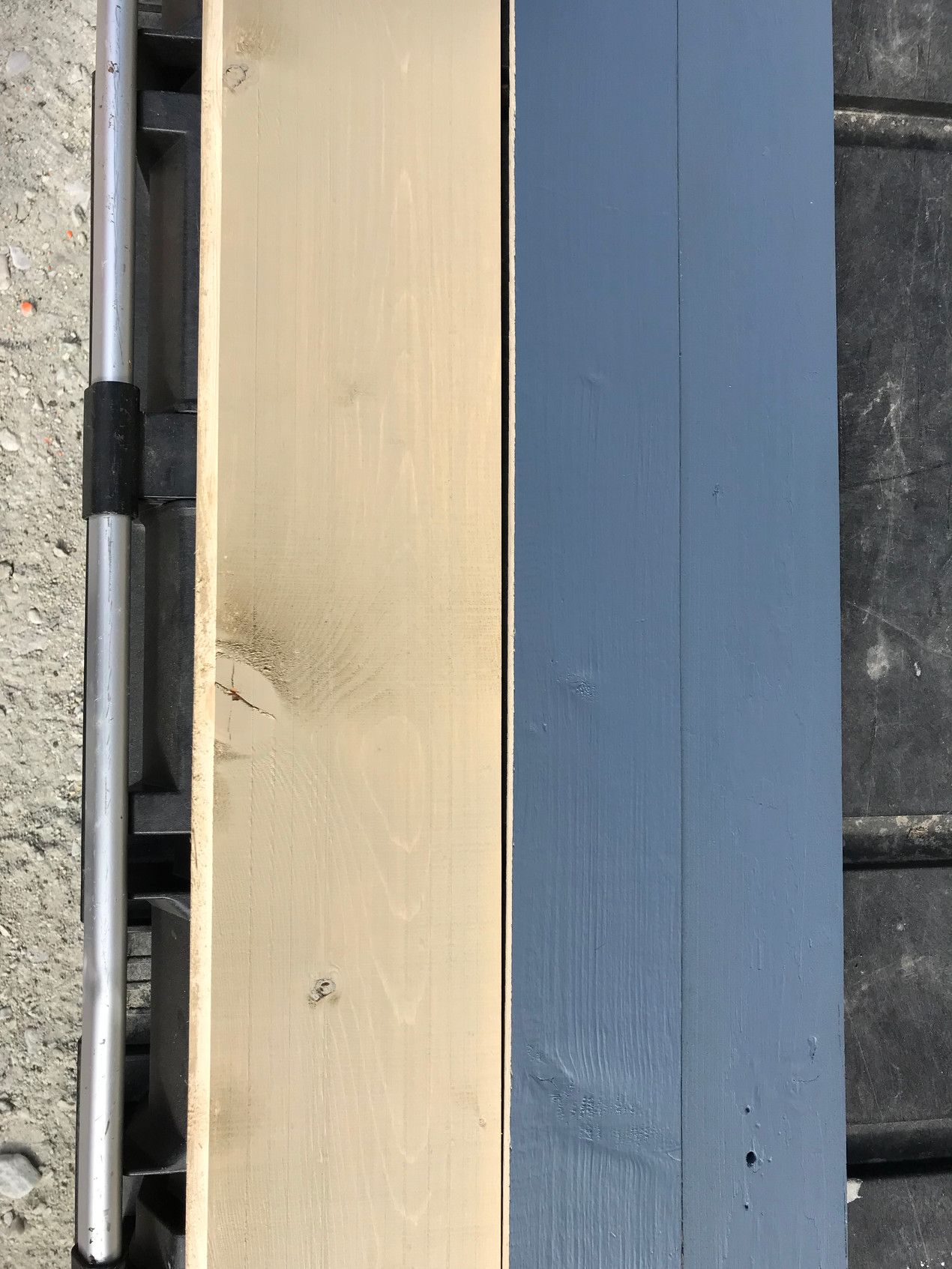 New siding colour is terra firma, an off yellow colour. The new exterior trim colour is called cannon, a blue grey.