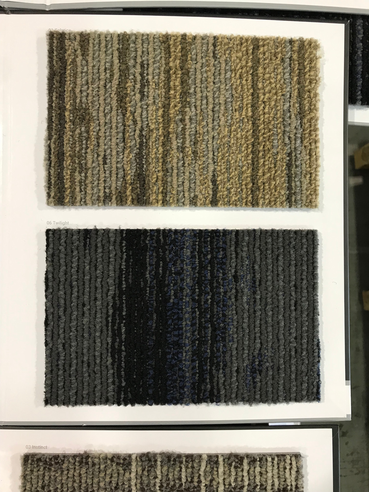 Hall carpet colours: sand and soil. Bedroom carpet colours: steel, tin and cobalt.