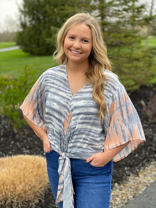 Gray and Peach, V-Neck, Rayon Tie Front Top