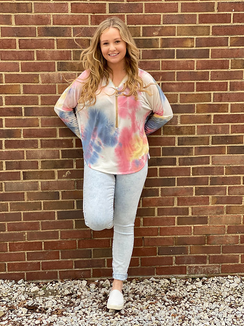 Blue, Red and Yellow Tie Dye Long Sleeve Top