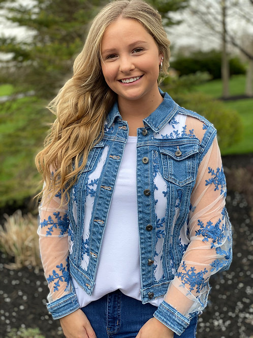 Denim Jacket with Embroidered Mesh