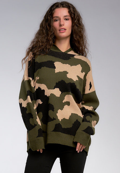 Oversized Camo Sweater