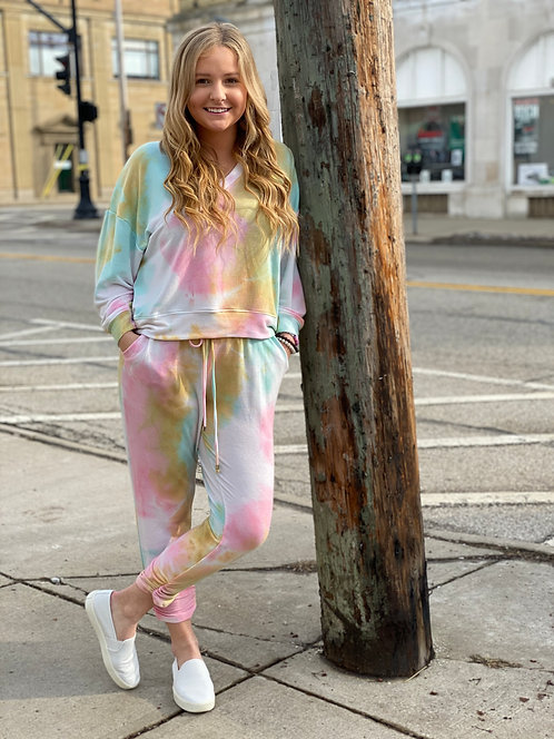 Blue, Pink & Yellow Tie Dye Light Weight Joggers