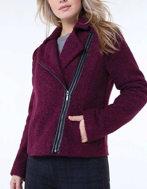 Berry Jacket with Faux Leather Detail
